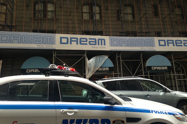 A construction worker was killed in a fall from a scaffolding at 210 West 55th St, police said.