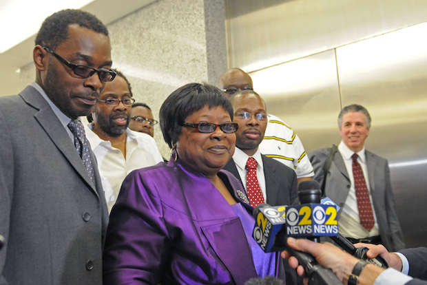 Prosecutors dismissed murder charges against half-brothers Darryl Austin,  Alvena   Jennette  and Robert Hill in Brooklyn Supreme Court, May 6, 2014.