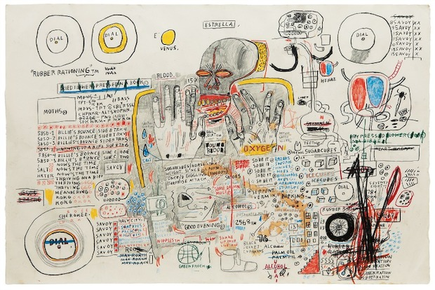 More than twenty pieces by artist Jean-Michel Basquiat are on display at Acquavella Galleries.