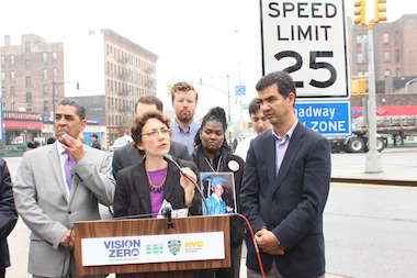 The speed limit on Broadway above Columbus Circle will be reduced to 25 miles-per-hour beginning in July, DOT Commissioner Polly Trottenberg said Thursday.