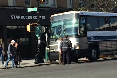 A woman was taken to New York Presbyterian hospital with non-life threatening injuries after she was struck by a BxM18 bus near 4761 Broadway Thursday afternoon.
