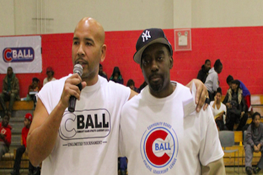 "C-Ball founder Abdul ""Sleep"" Johnson with Bronx Borough President Ruben Diaz Jr."