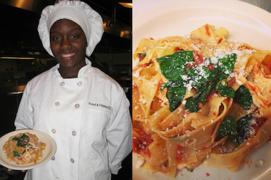 Danielle Rivers'  pappardelle with mushrooms, baby spinach and roasted tomato sauce was the top pick in the national Healthy Pasta Recipe Contest put on by Meatless Monday and the Careers through Culinary Arts Program.