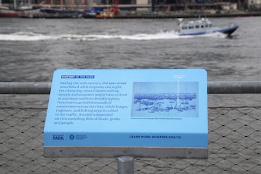 Officials unveiled a new series of signs that denote site-specific historic facts as well as sustainability, design and ecological features about the Brooklyn waterfront on Wednesday.