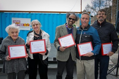 The first-ever recipients of the LES Community Heroes Award were recognized on May 4, 2014 at Pier 42 at East River Park. The honorees, from left to right, are Ruth Taube, Mimi Stern-Wolfe, Steve Cannon, Det. Jaime Hernandez and Robert Graf. The awards are part of the inaugural LES History Month.