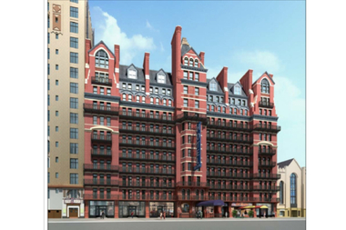 A rendering of Gene Kaufman's design for the Hotel Chelsea's renovation.