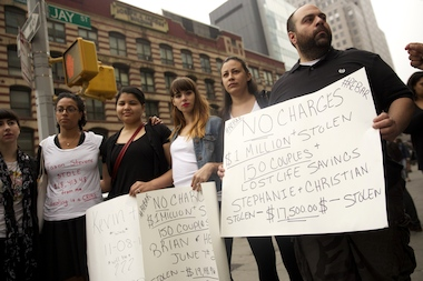 Jilted reBar couples protested outside of Jason Stevens' trial on May 15, 2014.