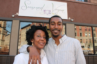 Brenda and Aaron Beener outside Seasoned Vegan.