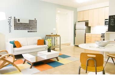 "Units in Inwood's modular apartment ""The Stack"" are for rent with prices starting at $1755 for a studio."