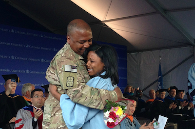 U.S. Army Captain Keith Robinson surprises his daughter Ruby at her Columbia University graduation. The ceremony was broadcast live on the web by Columbia.