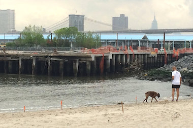 The beach at Pier 4 in Brooklyn Bridge Park also officially opened to the public last month.