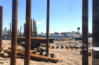 Construction at the Lightstone development site along the Gowanus Canal. Locals weighed in Monday night on Bridging Gowanus, a proposal to guide future development in the rapidly changing neighborhod.