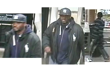 Police said the man pictured in the black hat (left and middle) removed cash from a victim's pocket. The man pictured in the striped shirt (at right) threatened the victim with a razor blade, police said.