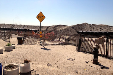 Beachgoers can expect massive sand dunes, and closures, at Rockaway Beach, such as these on Beach 119th Street.