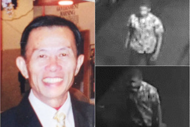 Ruan Wen Hui, 68, lay dying after he was attacked by another man, right, police said.