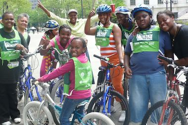 Members of Seeds in the Middle, a Crown Heights-based nonprofit, participate in the Five-Borough Bike Tour in 2010.