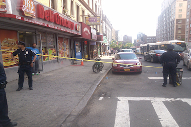 A scene from the shooting at 3rd Avenue and East 163rd Street in the Bronx on Monday.