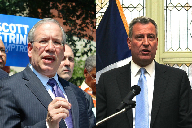 Mayor Bill de Blasio said Comptroller Scott Stringer's denial of a police body camera contract because it was being examined by the Department of Investigation was a