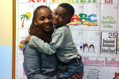 Harlem mom Tanesha Shell, 34, with her 4-year-old son Rodney at the Leggett Memorial Day Care center, which he attends daily from 8 a.m. to 6 p.m. all year long.