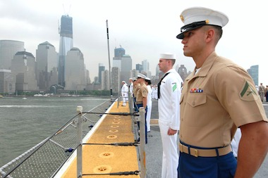 The U.S.S. Wasp sails on the Hudson River for Fleet Week in 2012.