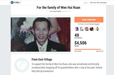 A screenshot of the Fundly page raising money for the family of Wen Hui Ruan, who was beaten to death on East 6th Street near Avenue D on May 9, 2014.