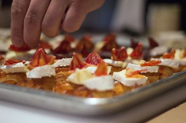 "One part of the contest challenges the contestants to assemble a ""perfect bite,"" where each is assigned a cheese and asked to pair it with other ingredients."