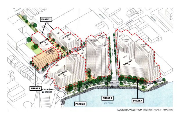 The five-building project would bring nearly 1,700 new apartments to the Astoria waterfront.