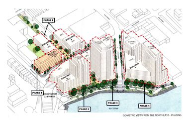 The Astoria Cove plan includes five mixed-use buildings ranging from six to 32 stories in height, which would be constructed in four phases over 10 years.