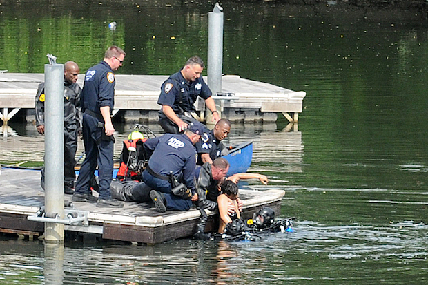 Two boys were pulled from the Bronx River near 172nd Street on June 20, 2014.