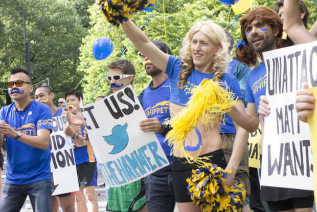 The group raises money for charity by asking for support for their cheering sessions for runners at smaller New York City races.