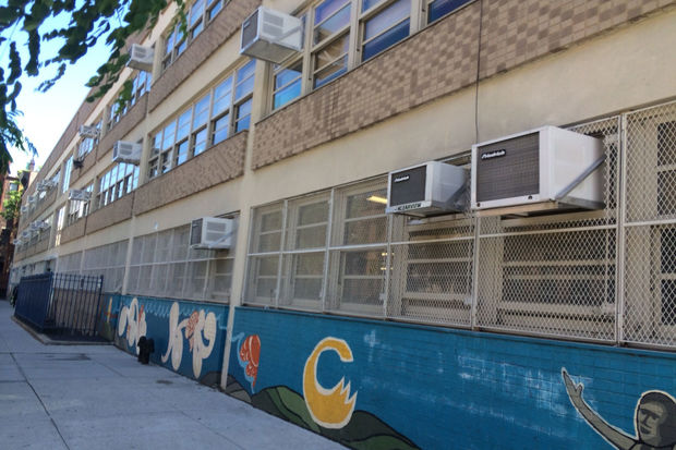 The system that runs the announcements and clocks at P.S. 242 is broken and has been for a year.