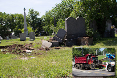 A truck crashed through Moravian Cemetery, knocking down its gate and several historic tombstones.