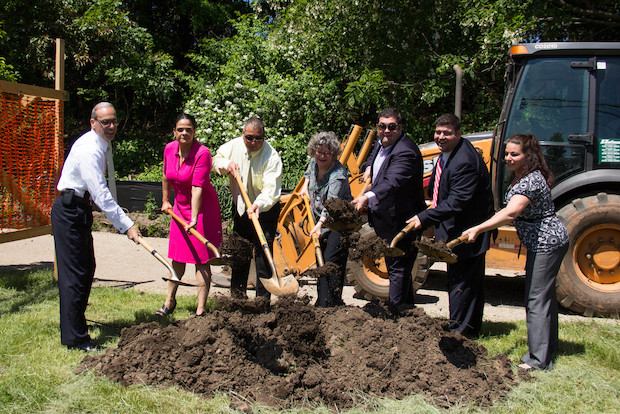 The city broke ground on the 3.3-mile New Springville Greenway bicycle and pedestrian path along Richmond Avenue on Monday, June 2, 2014.