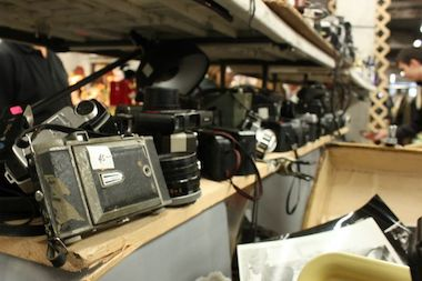 Old photography equipment on sale at Antiques Garage.