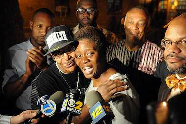 "Prince Joshua ""P.J."" Avitto's mother, Aricka McClinton, celebrates after finding out that the man suspected of killing her 6-year-old son was apprehended in Queens."