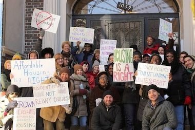 Members of the Crown Heights Tenants Union rally in the neighborhood in March. The group will hold their second rally and march this Saturday.