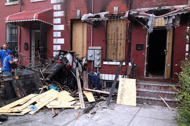 The two-alarm fire broke out Monday night about 9 p.m., according to the FDNY.