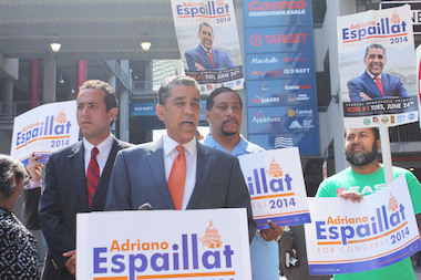 State Sen. Adriano Espaillat unveiled his economic plan Wednesday in East Harlem.