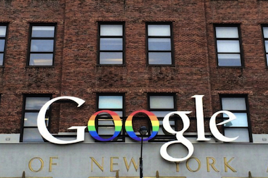 Google's New York headquarters got a rainbow makeover in honor of gay pride.