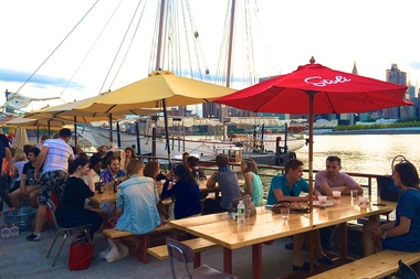 Anable Basin Sailing Bar & Grill sits along the East River in Long Island City.