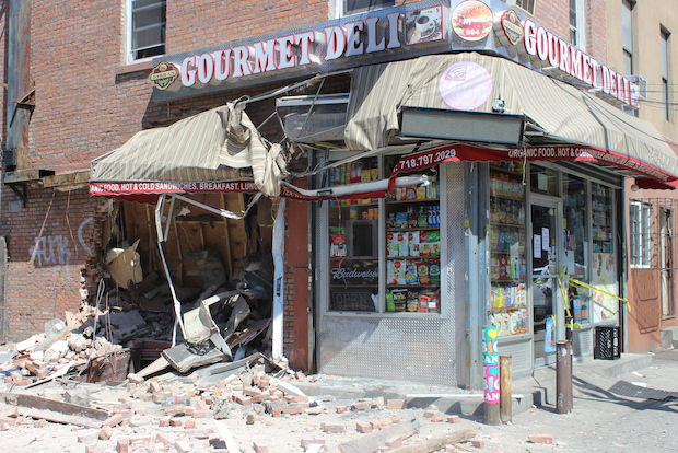 Seven people were injured when a garbage truck smashed into Jobran Gourmet Deli, at 994 Bedford Ave., on June 20, 2014.