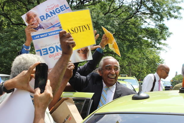 Charles Rangel and Adriano Espaillat made one last appeal to voters Monday in Washington Heights.