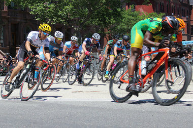 One of the cyclists at the annual Father's Day Bike Race in Marcus Garvey Park had a $10,000 bike stolen, police said.