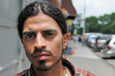 A group of men robbed and attacked Juan Pichardo, 35, in front of 97 Pitt St., he and police said.
