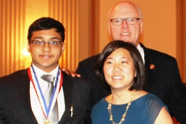 Soham Daga (L) with Rep. Grace Meng and Joe Crowley during the ceremony in Washington, D.C.