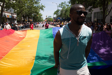 A parade-goer at the Queens Pride Parade.