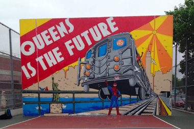 "The ""Queens Is The Future"" mural on Northern Bouelvard now features Spider-Man."