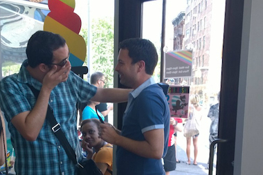 Raul Ortega, left, and John Chakalis got engaged at the West Village Big Gay Ice Cream Shop on Saturday.