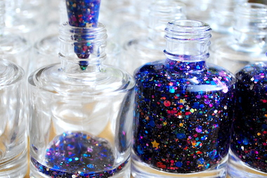 Mawish Ali, the founder of Starrily, puts nail polish into bottles.