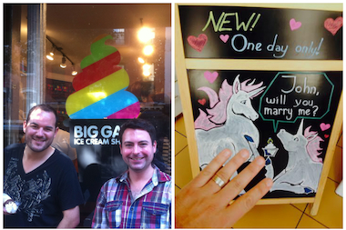 Raul Ortega, left, and John Chakalis visited the Big Gay Ice Cream shop in the East Village three years ago on one of their first trips together (left). They were engaged at the West Village location on Saturday (right).